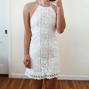 White Crochet Detail Halter Dress from ZARA